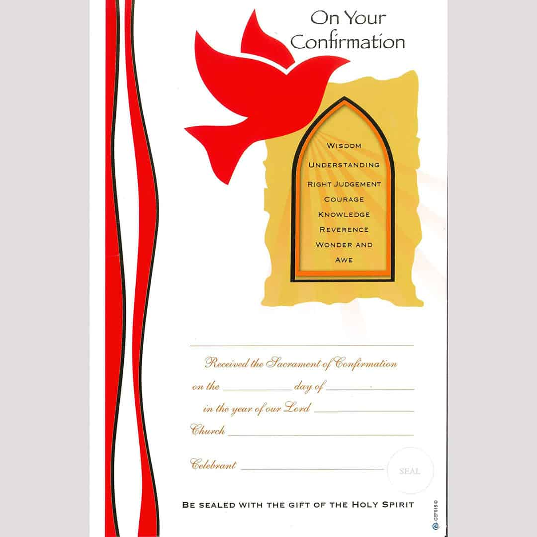 Confirmation Certificate 3 Pk 10 Church Stores